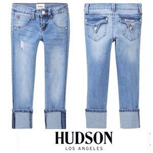 Hudson Light Wash Distressed Skinny Cuffed Jeans